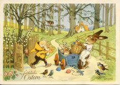 Künstlerkarte Fritz Baumgarten, Ostern: Zwerg und Osterhase mit Bollerwagen, M&B