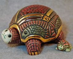 ARTESANIA RINCONADA TURTLE TRINKET BOX #602 w/LITTLE BABY TURTLE - MIB