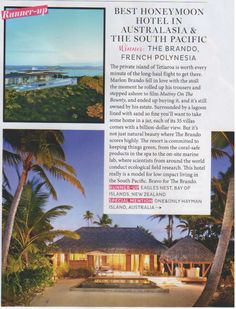 BRIDES: The Brando is the Best Honeymoon Hotel in Australasia and The South Pacific