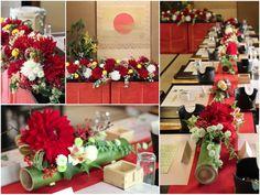 会場装花イメージ:和婚,和装,ダリア,赤,オレンジ,黄色,大輪