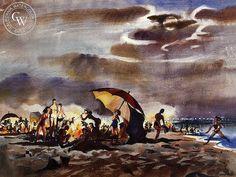 Mary Blair - Beach Party - California art - fine art print for sale, giclee watercolor print - Californiawatercolor.com