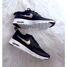 Nike Air Max Thea black/anthracite/white/wolf Grey With Gold Swarovski... ($145) ❤ liked on Polyvore featuring shoes, grey, sneakers & athletic shoes, women's shoes, shiny shoes, white shoes, gold shoes, black gold shoes and black shoes