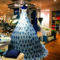 Giant, peacock-inspired dress in Macy's china department ties into Flower Show theme. #chicago