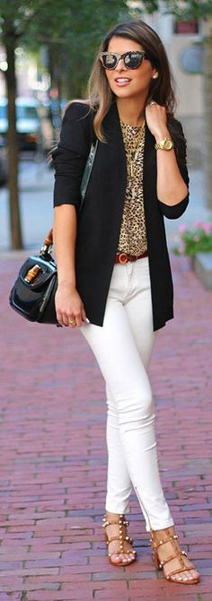 cool office outfit idea / black blazer + bag + leopard blouse + white pants + sandals