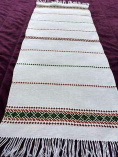 Vintage handwoven linen table runner / rug Hand Woven by Retroom, $10.00