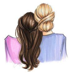 Best Friend Drawings, Girly Drawings, Pencil Art Drawings, Art Drawings Sketches, Cool Drawings, Friends Sketch, Mother Daughter Art, Cute Girl Drawing, Friends Wallpaper