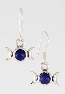 """(NOW AVAILABLE!)    Set on a traditional french hook, these sterling silver earrings are sure to become one of the favorite sets in your collection. Using a lapis stone set into the classic triple moon design, these earrings reflect the shifting nature of the goddess in all her aspects, focusing on those in harmony with the power held within lapis gemstones. Measuring 1/2"""" wide and 3/8"""" tall with a 1/2"""" hook, these earrings are an excellent aid for purity and truth"""
