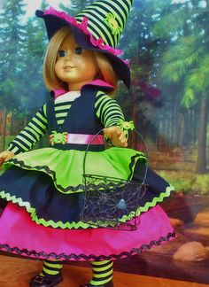 Spidery Halloween Witch Costume with Hat, Tights and Basket fits American Girl Dolls