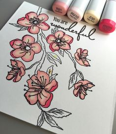 The Ton: Cherry Blossom stamp. Coloring these cherry blossoms … I did a… Cherry Blossom Drawing, Goblin Art, Watercolor Pencil Art, Lotus Art, Copic Sketch Markers, Alcohol Markers, Marker Art, Copics, Gel Pens