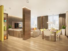 The decor also uses plenty of wood from the cool dark choice on the interior columns to the lighter tones on the floor.