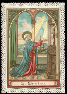 OLD LACE HOLY CARD OF ST MONIKA