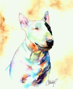 Christy Freeman | WATERCOLOR | Bull Terrier