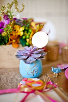 Adorable succulent party favors