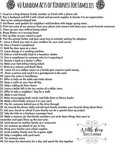 Instead of giving something up for Lent, use these Forty Random Acts of Kindness for Families for to do to with your kids to countdown to Easter.