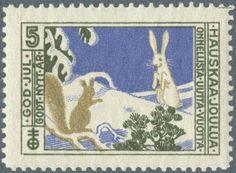 Väinö Blomstedtin suunnittelema joulumerkki vuodelta 1912. Christmas Time, Xmas, Moomin, Mail Art, Postage Stamps, Finland, Retro Vintage, Kids Rugs, Scrapbook
