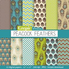 """Peacock digital paper: """"PEACOCK FEATHERS"""" with green and blue peacock feathers, polkadots, chevrons and feathers for scrapbooking, cards on Etsy, $4.80"""