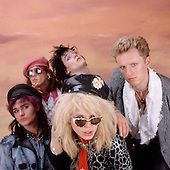 Hanoi Rocks -  L-R: Renee Berg, Andy McCoy, Nasty Suicide, MIchael Monroe, Terry Chimes - photographed exclusively in London UK - 15 April 1985.  Photo credit: George Chin/IconicPix