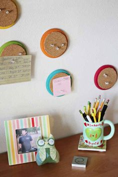Stay organized with little circle corkboards.