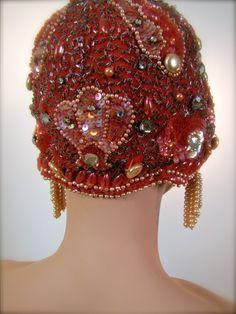 Extraordinary 1920's Beaded Sequined Jeweled Flapper Era Showgirl Cap Cloche