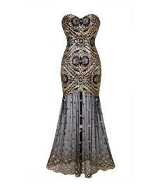 Gatsby Inspired Beautiful Strapless Special Occasion Dress Black and Gold Sequin Detail on Bodice with Sheer Skirting - Sheer Mermaid Organza Hemline. Its like a mini flapper dress with an organza hem to add modesty! Zips up the side and also laces up ...