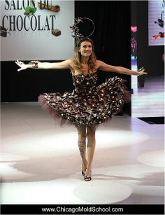 Salon du Chocolat Fashion Show - The Chicago School of Mold Making #chocolate #fashion #chocolatedress