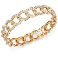 Diamond Pave Link Bracelet in 14K Yellow Gold, 7.0 ct. t.w.