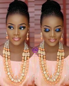 For the Love of Peach and Coral - Perfect Wedding Color Combo - Wedding Digest Naija Makeup For Black Skin, Black Girl Makeup, Girls Makeup, Wedding Makeup Tips, Bridal Hair And Makeup, Hair Makeup, Makeup Desk, Makeup Eyebrows, Flawless Makeup