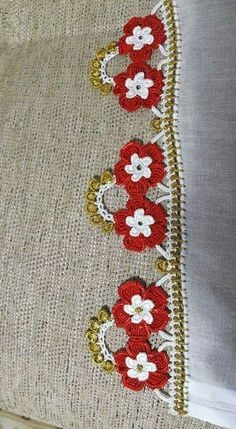 Crochet Borders, Crochet Flower Patterns, Filet Crochet, Crochet Flowers, Saree Kuchu Designs, Needle Lace, Easy Knitting, Simple Art, Karen Millen