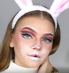 Looking for for ideas for your Halloween make-up? Browse around this website for unique Halloween makeup looks. Bunny Halloween Makeup, Makeup Clown, Bunny Makeup, Unique Halloween Makeup, Halloween Looks, Scary Halloween, White Rabbit Makeup, Costume Makeup, Doll Makeup