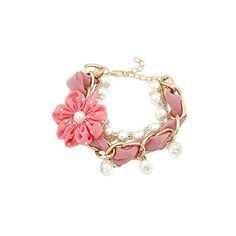 Buy Young & Forever Valentine Gift Special Cute Pink Flower Bow... ❤ liked on Polyvore featuring jewelry, bracelets, flower bangle, charm bracelet, flower jewelry, pink bangles and pink jewelry