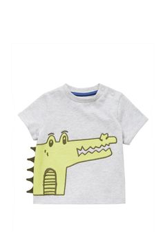 <li><p>Update baby's everyday basics with this fun crocodile t-shirt from F&F. With press stud fastenings on the shoulder for easy dressing, the t-shirt has cuffed short sleeves and a cheeky crocodile embroidered on the front with 3D spikes.</p><p>Crew neck</p><p>Short sleeves</p></li>