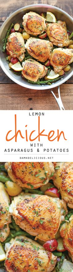 Lemon Chicken with Asparagus and Potatoes - Crisp-tender chicken baked to absolute perfection. It's an entire meal in a single skillet!