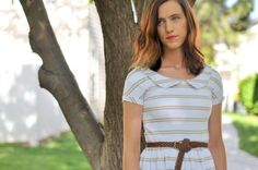 Knit tapered dress with peter pan collar (non-maternity style)