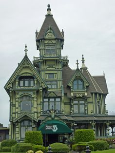 Steam-powered inspiration - melodysmuse: Victorian Mansions of Eureka, CA : The Carson Mansion is a large Victorian house located in Old Town …regarded as one of the highest executions of American Queen Anne Style architecture ~ The canopy is not quite so intrusive in this shot #gothic #steampunk