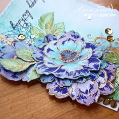 After-Hours Ink & Flowers: The Card Concept # 54 Lilacs and Shades of blue