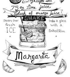 Margarita Bar Badetuchhalter, Warenkorb - Classic Cocktail Rezept Grafik…