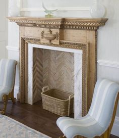 herringbone is nice for a non-working fireplace. keeps it from just being a black hole