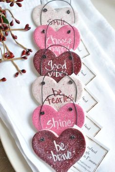Excited to share the latest addition to my shop: Valentine's Day Decorations Napkin Rings Motivational Messages Salt Dough Hearts Set of 6 Valentines Day Party, Valentines Day Decorations, Valentine Day Crafts, Valentine Ideas, Valentine Tree, Salt Dough Crafts, Salt Dough Ornaments, Homemade Ornaments, Crafts For Kids