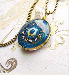sale The astrolabe necklace 12 zodiac symbol by mothersvillage, $29.99