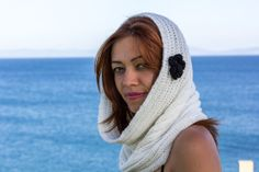 Hand knit  Cowl White  Cunky knit Cowl  with flowers by zyzon, $27.00