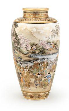 Lot 269 A Satsuma ovoid vase By Okamoto Ryozan, Meiji era late century Japanese Vase, Japanese Porcelain, Japanese Ceramics, Japanese Pottery, Pots, Satsuma Vase, Meiji Era, Oriental Pattern, Japanese Beauty