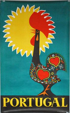 1960s Tourist Poster Portugal Barcelos Rooster by CalloohCallay
