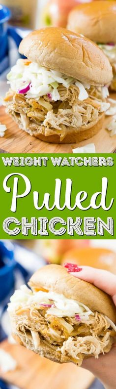 This Apple Cider Pulled Chicken is Weight Watchers approved and so easy to make! You can turn it into sandwiches, tacos, sliders, or serve it over rice!