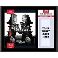 """Fanatics Authentic UFC Fight Night Holly Holm vs. Valentina Shevchenko Dueling """"I Was There"""" 12"""" x 15"""" Sublimated Plaque"""