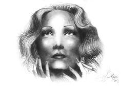 Marlene Dietrich in graphite by Hanna Petersson