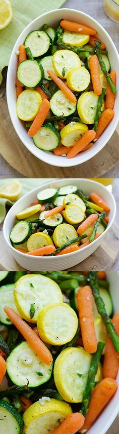 Roasted Spring Vegetables - healthy seasonal spring vegetables roasted with garlic herb butter. Perfect side dish that takes only 20 mins | http://rasamalaysia.com