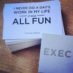 Thomas Edison Quote - business cards of iamexec.com
