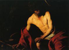 Caravaggio or Michelangelo Merisi o Amerighi da Caravaggio (Italian 1571?–1610) [Baroque] St. Francis, circa 1600. Galleria Nazionale de Arte Antica, Rome. The Athenaeum