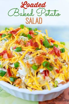 Loaded Baked Potato Salad | Sassy Girlz Blog Everything you love about loaded baked potatoes but in a nice cold salad for Summer! Creamy, cheesy goodness! And BACON! Lots of BACON too! Great for BBQ and Potlucks. Sunday Supper anyone?