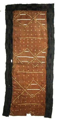 "Kuba Long Panel - KUBA Long Panel 203 49"" x 21"" $200 This special wrap was worn outside, or on top of, the long dance dresses for added decoration and prestige. Made from raffia."